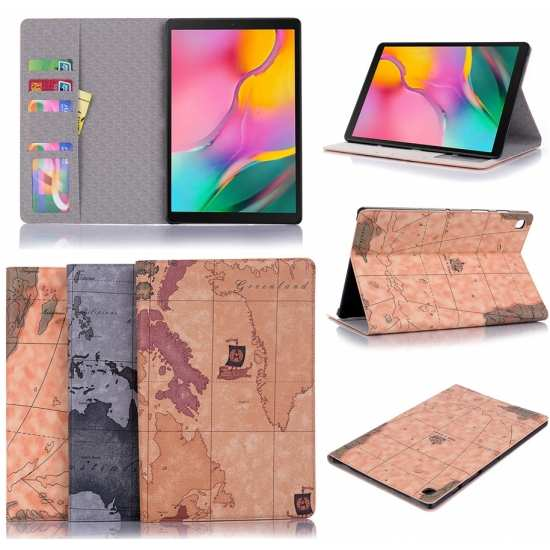 For Samsung Galaxy Tab A7 10.4 Hard Case World Map Pu Leather Stand Cover