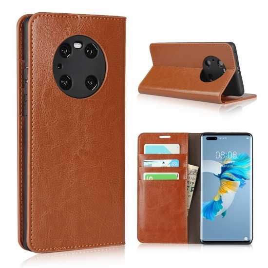 For Huawei Mate 40 Pro Genuine Leather Wallet Flip Stand Case With Card Holder