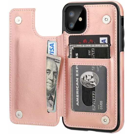 For iPhone 12 Mini Pro Max Leather Wallet Case with Credit Card Holder