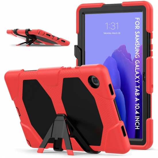 For Samsung 10.4 Tablet Case T500/505/507 Military Cover Screen Protector - Red