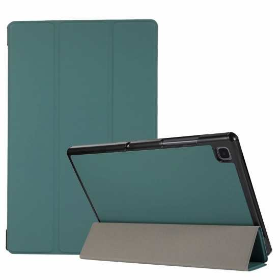 "For Samsung Galaxy Tab A7 10.4"" T500 T505 Stand Flip Sleep/Wake-Up Leather Case - Dark Green"