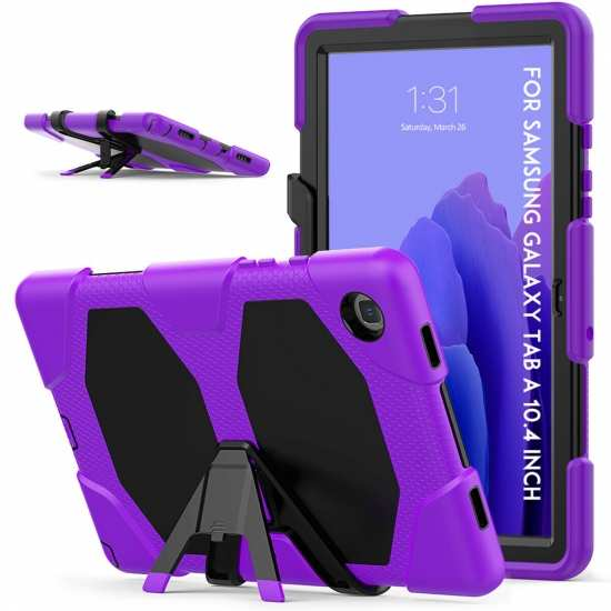 For Samsung Galaxy Tab A7 10.4 Tablet Case Military Armor Tablet Stand Cover - Purple