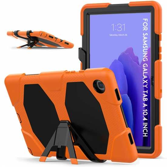 Galaxy Tab A7 10.4 Case T500 T505 Shockproof Rugged Stand Cover - Orange