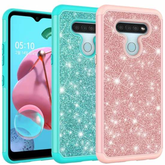 For LG Stylo 6 Case Glitter Hybrid Armor Shockproof Phone Cover