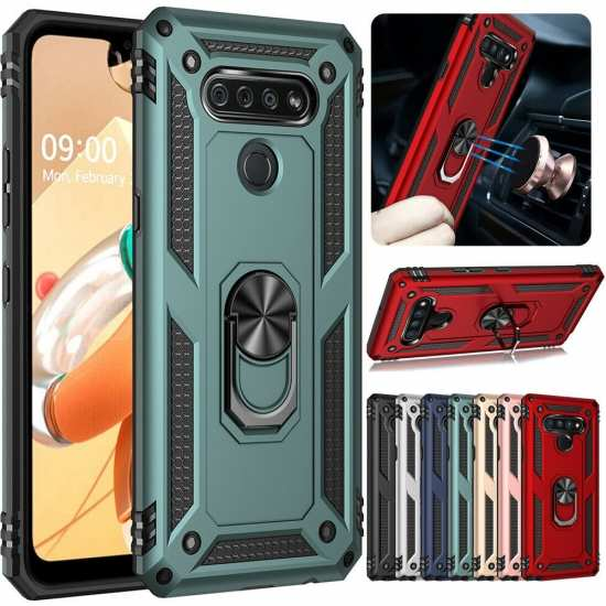 For LG Stylo 6 Phone Case Heavy Duty Shockproof Ring Holder Stand Cover