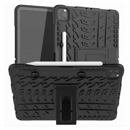 For iPad Pro 11 Case 2021 Shockproof Hybrid Rugged Rubber PC Stand Cover - Black
