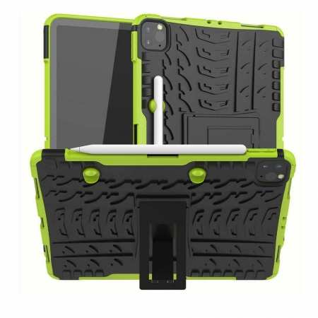 For iPad Pro 11 Case 2021 Shockproof Hybrid Rugged Rubber PC Stand Cover - Green