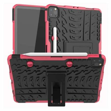 For iPad Pro 11 Case 2021 Shockproof Hybrid Rugged Rubber PC Stand Cover - Hot Pink
