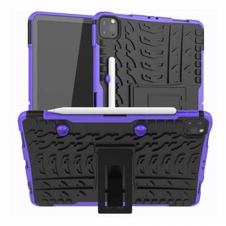For iPad Pro 11 Case 2021 Shockproof Hybrid Rugged Rubber PC Stand Cover - Purple