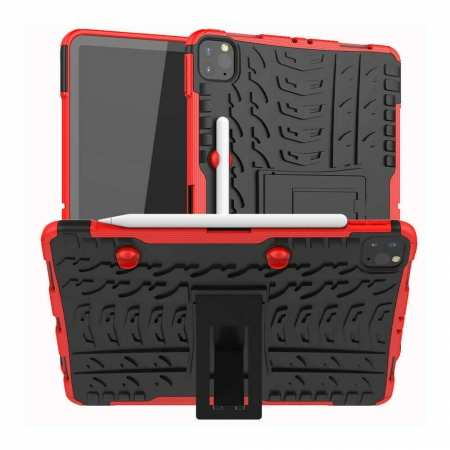 For iPad Pro 11 Case 2021 Shockproof Hybrid Rugged Rubber PC Stand Cover - Red