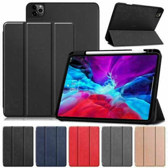 For iPad Pro 11 Case 2021 Slim Leather Folio Stand Flip Cover W/ Pencil Solt