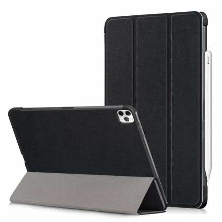 For iPad Pro 11 Case Tri-fold Leather Tablet Stand Flip Cover - Black