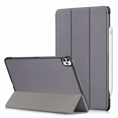 For iPad Pro 11 Case 2021 Tri-fold Leather Tablet Stand Flip Cover - Grey