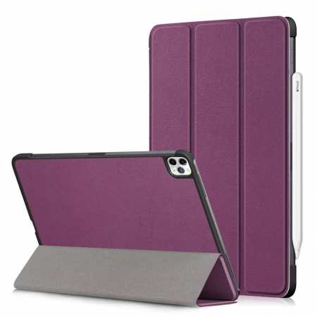 For iPad Pro 11 Case 2021 Tri-fold Leather Tablet Stand Flip Cover - Purple