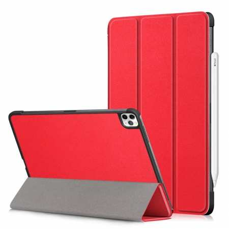 For iPad Pro 11 Case 2021 Tri-fold Leather Tablet Stand Flip Cover - Red