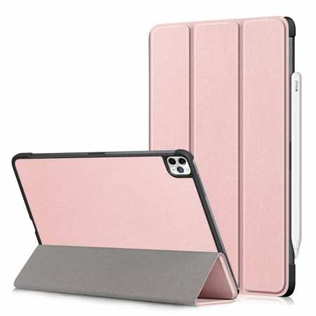 For iPad Pro 11 inch Case 2021 Tri-fold Leather Tablet Stand Flip Cover - Rose Gold