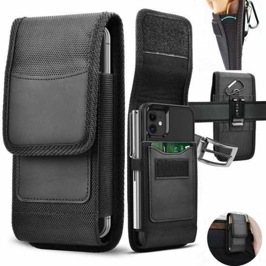 For BlackBerry KEYone Case Phone Holster Belt Clip Pouch Card Holder Nylon Wallet Cover