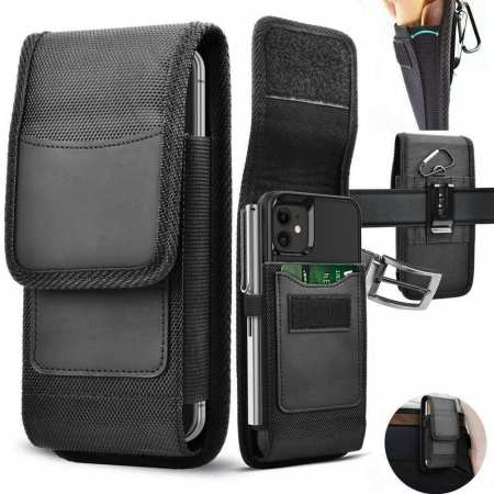 For Samsung Galaxy A12 Case Phone Holster Belt Clip Pouch Card Holder Nylon Wallet Cover