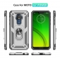 For Motorola Moto G7 Power Case Ring Holder Magnetic Stand Phone Cover - Silver