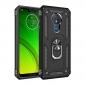 For Motorola Moto G7 Power Case Ring Holder Magnetic Stand Phone Cover - Black