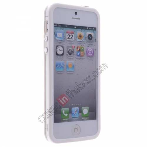 discount TPU Trim Polycarbonate Bumper Mid Frame Case  for iPhone SE/5S/5 - White&Transparent