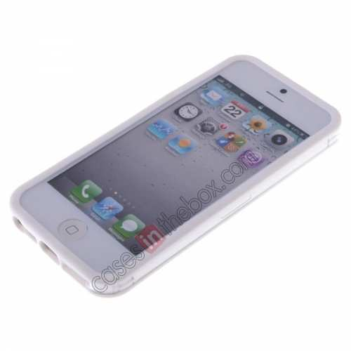 top quality TPU Trim Polycarbonate Bumper Mid Frame Case  for iPhone SE/5S/5 - White&Transparent