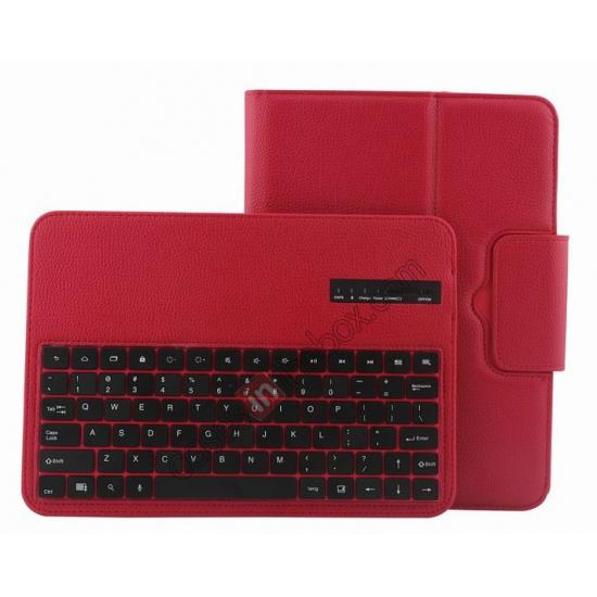 galaxy tab 10.1 case,wholesale Detachable Bluetooth Keyboard + Flip Stand Leather Case For Samsung Galaxy Tab 3 10.1 P5200 P5210 - Red