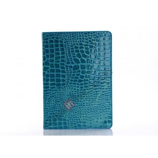 best leather ipad air cases,discount Luxury Crocodile Skin Pattern Leather Stand Case for iPad Air - Blue