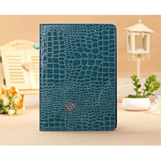ipad air brown leather case,cheap Luxury Crocodile Skin Pattern Leather Stand Case for iPad Air - Blue