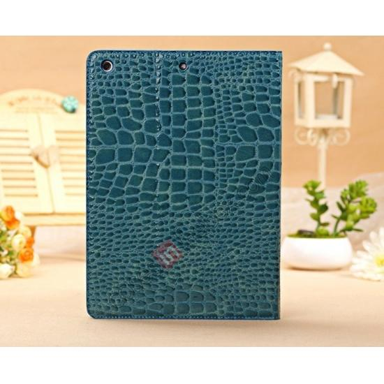leather ipad air case sleeve,top quality Luxury Crocodile Skin Pattern Leather Stand Case for iPad Air - Blue