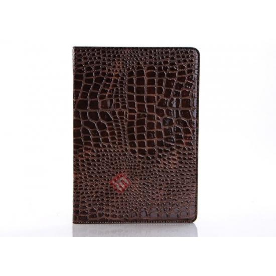 new ipad air leather cases,discount Luxury Crocodile Skin Pattern Leather Stand Case for iPad Air - Brown