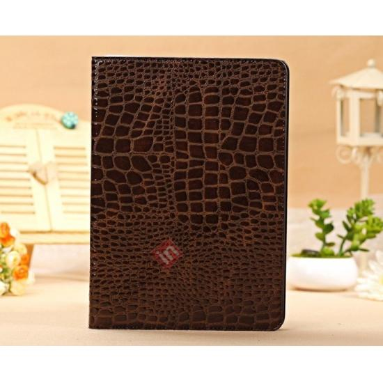 ipad air real leather case,cheap Luxury Crocodile Skin Pattern Leather Stand Case for iPad Air - Brown