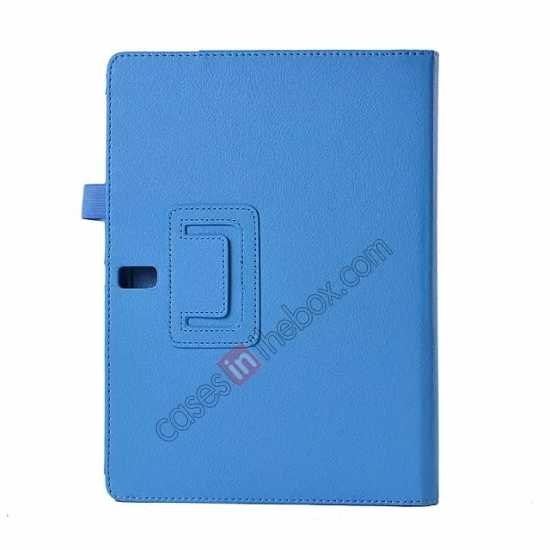 cheap Lychee Leather Stand Fold Folio Case for Samsung Galaxy Tab S 10.5 T800 - Light blue