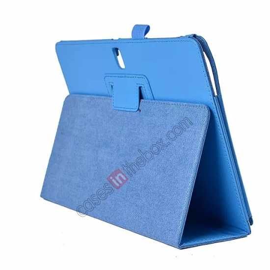 wholesale Lychee Leather Stand Fold Folio Case for Samsung Galaxy Tab S 10.5 T800 - Light blue