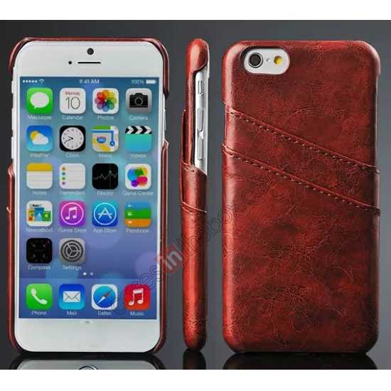 wholesale Oil Wax Style Insert Card Leather Back Case Cover for iPhone 6/6S 4.7 Inch - Brown