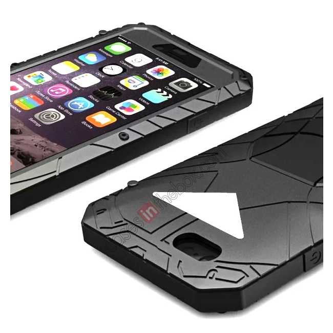 cheap Aluminum Metal Gorilla Glass Waterproof Case Cover for iPhone 6/6S 4.7inch - Black