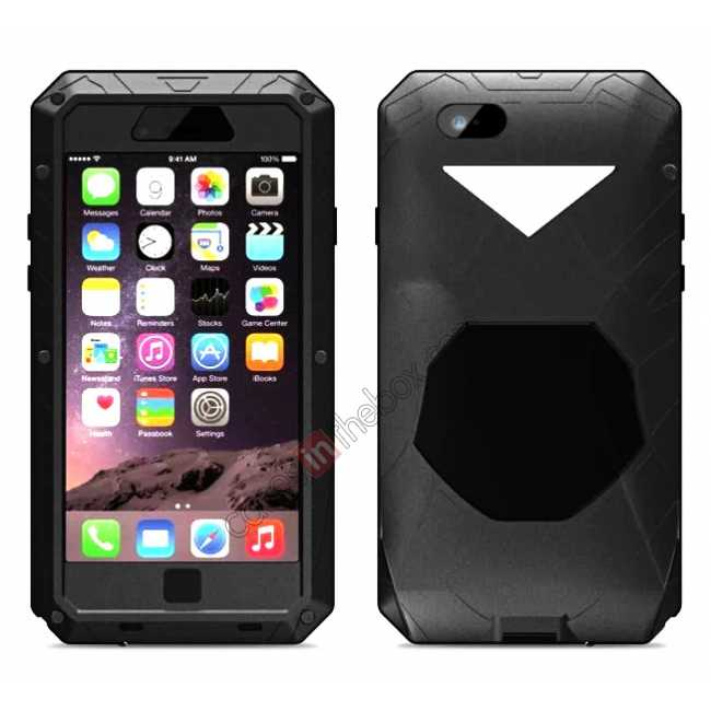 wholesale Aluminum Metal Gorilla Glass Waterproof Case Cover for iPhone 6/6S 4.7inch - Black