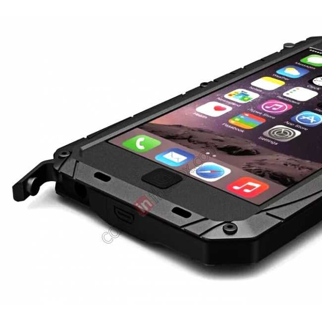 top quality Aluminum Metal Gorilla Glass Waterproof Case Cover for iPhone 6/6S 4.7inch - Black
