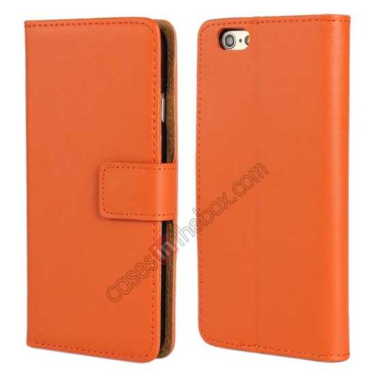 wholesale Genuine Leather Wallet Flip Case Cover For iPhone 6 Plus/6S Plus 5.5inch - Orange