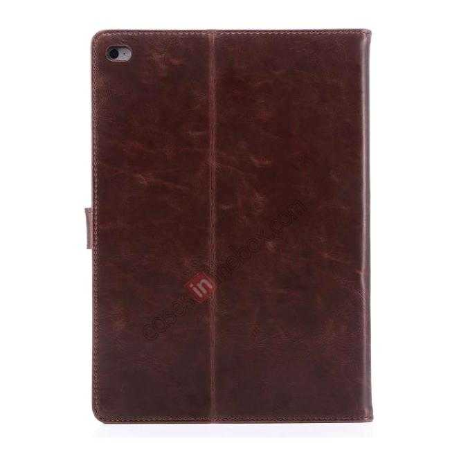 best price Luxury Vintage Series Leather Stand Case for iPad Air 2 with Sleep/Wake-up Function - Coffee