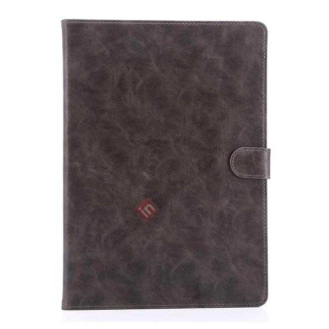 top quality Luxury Vintage Series Leather Stand Case for iPad Air 2 with Sleep/Wake-up Function - Grey