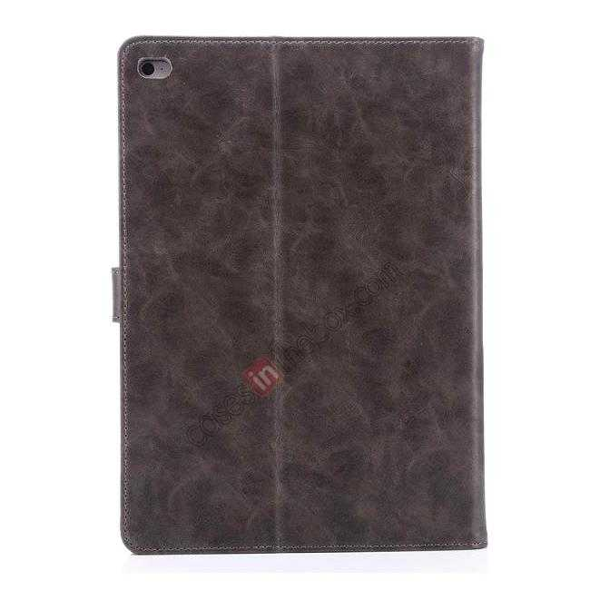 best price Luxury Vintage Series Leather Stand Case for iPad Air 2 with Sleep/Wake-up Function - Grey