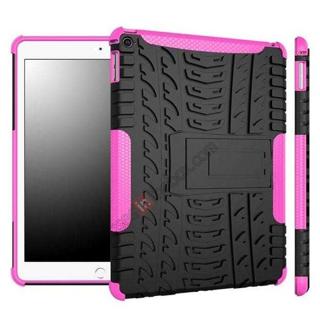 wholesale Durable ShockProof Hybrid Hard Stand TPU Case Cover For iPad Air 2 - Hot pink