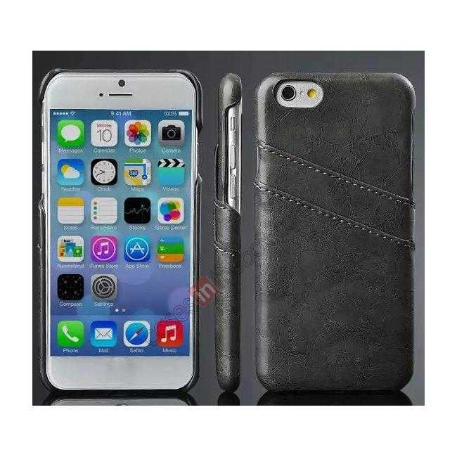 wholesale Oil Wax Leather Credit Card Holder Back Shell Case Cover for iPhone 6 Plus/6S Plus 5.5 Inch - Black