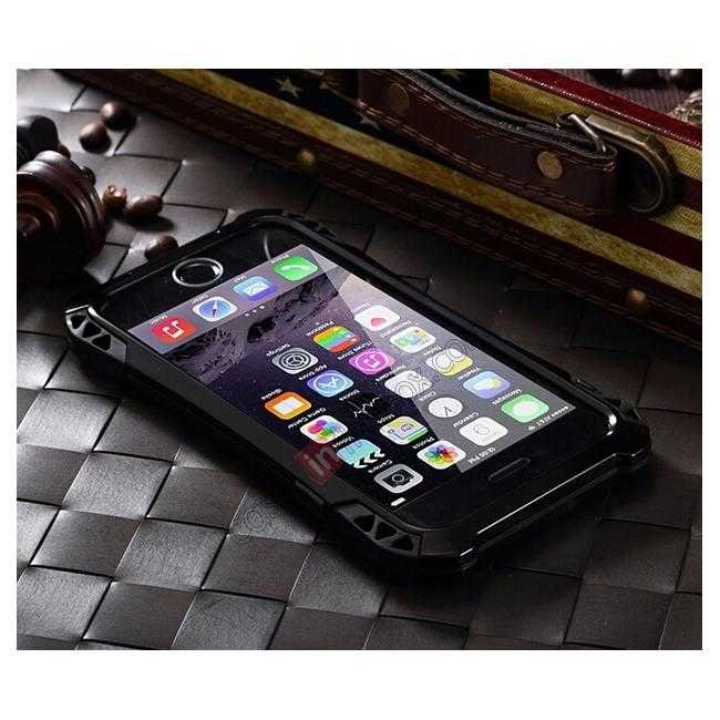 cheap Shockproof Aluminum metal Cover Case With Tempered Glass Screen For iPhone 6S 4.7inch - Black
