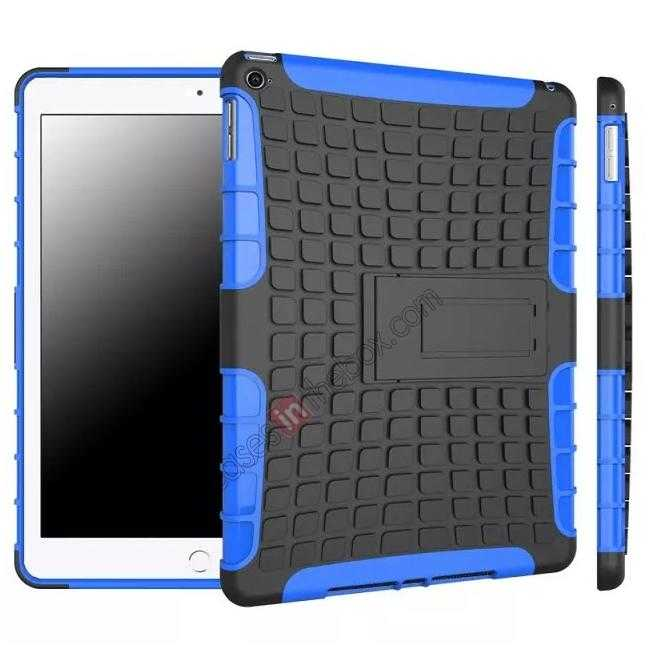 wholesale Shockproof TPU Hybrid Hard Kickstand Case Cover For iPad Air 2 - Blue