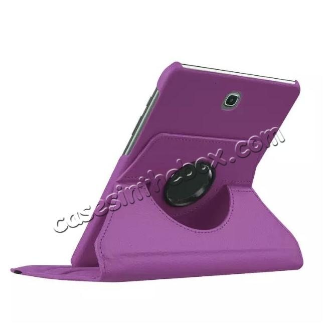 best price 360 Degrees Rotating Stand Leather Case For Samsung Galaxy Tab S2 8.0 T715 - Purple