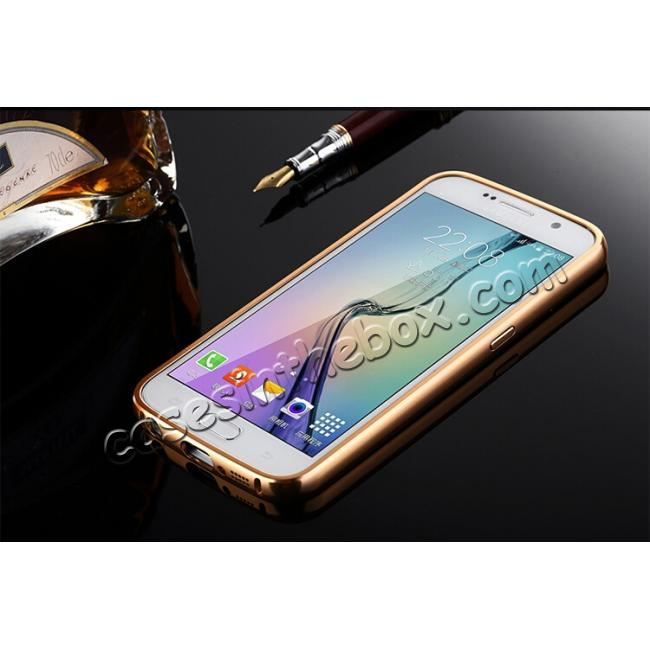 discount Aluminum Metal Bumper with Mirror Acrylic Plastic Back Cover for Samsung Galaxy S6 - Rose gold
