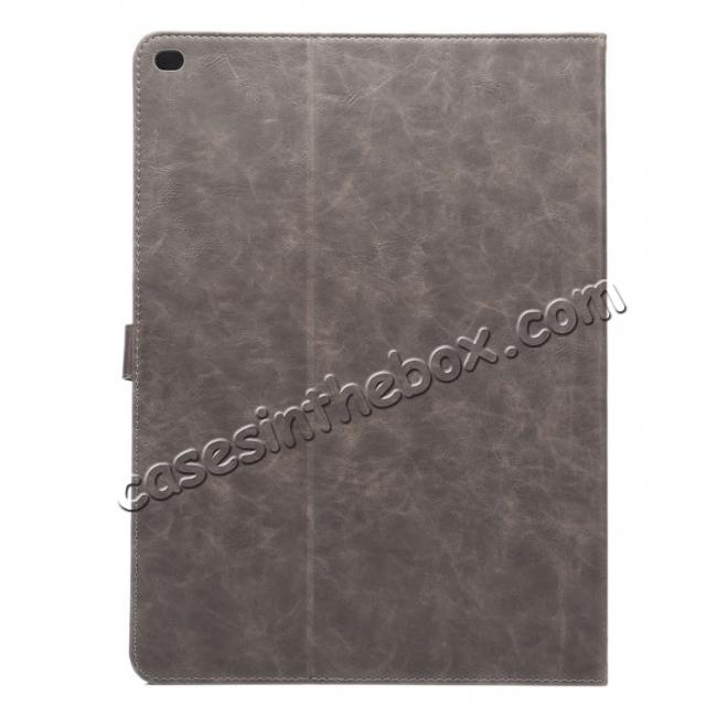 cheap Luxury Crazy Horse Leather Stand Cover Case Card Holder for iPad Pro 12.9inch - Grey