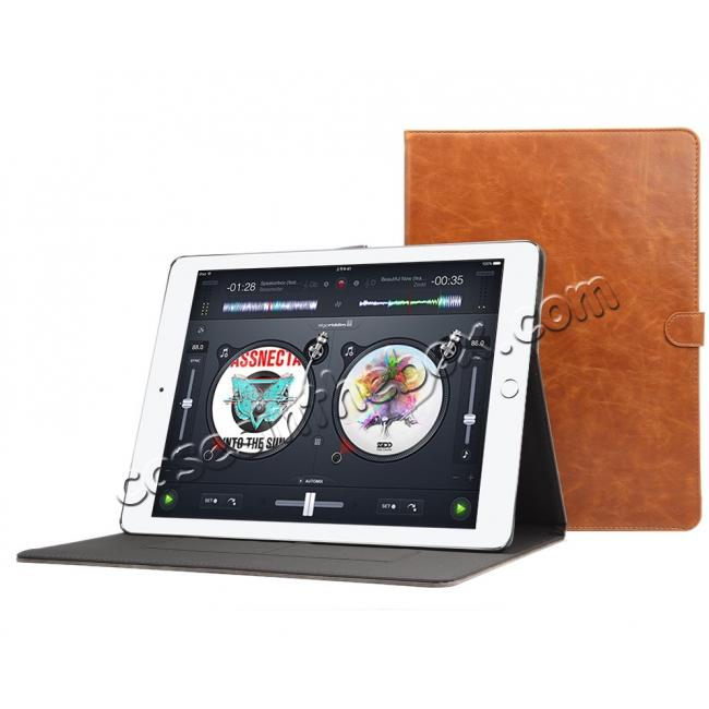 top quality Luxury Crazy Horse Leather Stand Cover Case Card Holder for iPad Pro 12.9inch - Grey